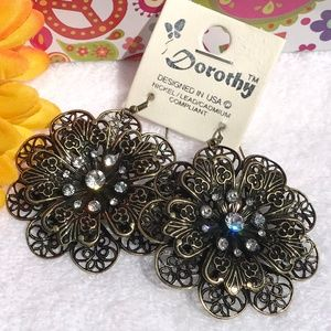 Boho Earrings Rhinestone Flower Dangles Goldtone